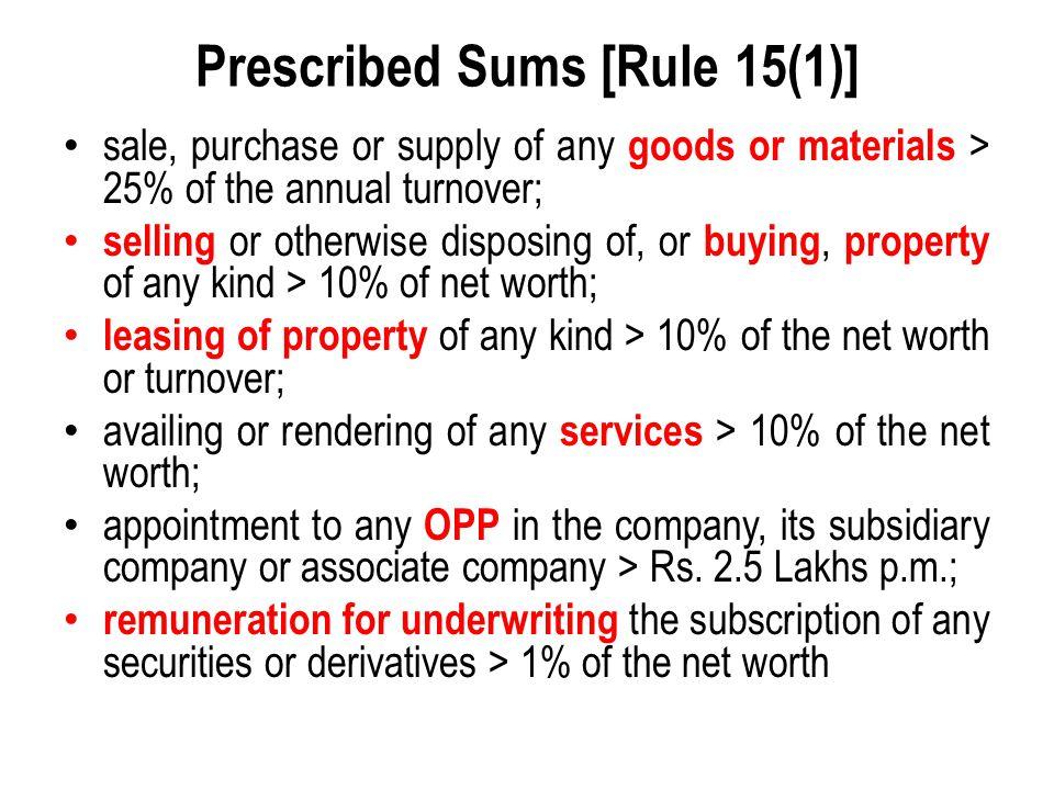 Prescribed Sums [Rule 15(1)]